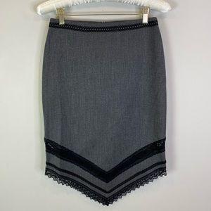Bebe Gray Wool Blend Asymmetrical Pencil Skirt